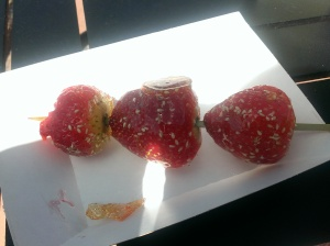 I was so excited about these Beijing style candied strawberries that I had to try one before I even took the photo!