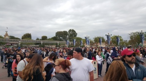 The lines for the parks crossed the entire courtyard.
