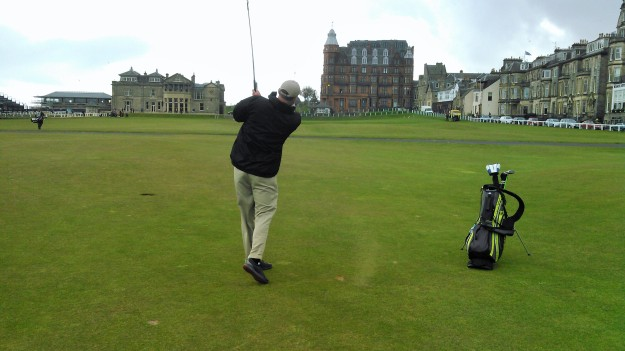 One of the photos my husband's caddie took of him golfing The Old Course at St. Andrews.