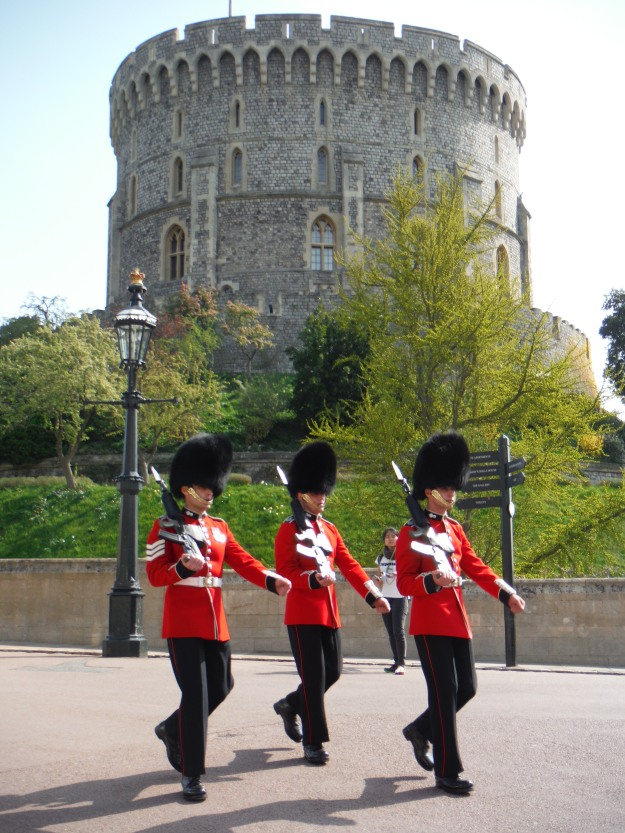 The Queen was actually in residence at Windsor Castle when were were there, but these guards would have been there even had she not been.