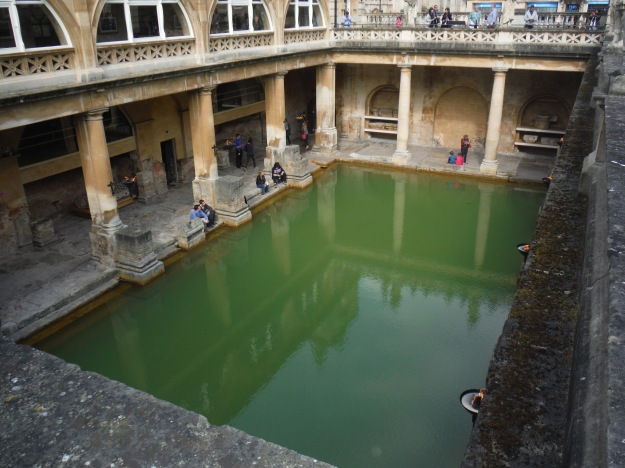 Our final stop of the day was Bath. This is a photo of the Roman Baths, which today doesn't look very appealing, but in their time, there would have been a roof to this area blocking the sun and leaving the water clear instead of full of green algae.