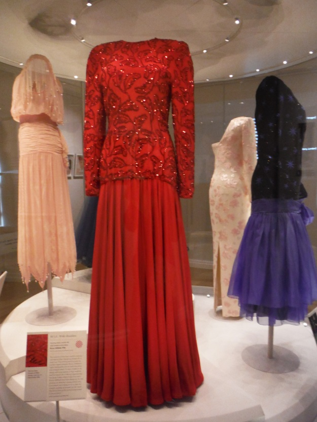 Speaking of dresses, during our visit there was a special exhibit of the royals' clothing. There were articles from Queen Elizabeth II, Princess Margaret, and these dresses from Princess Diana.