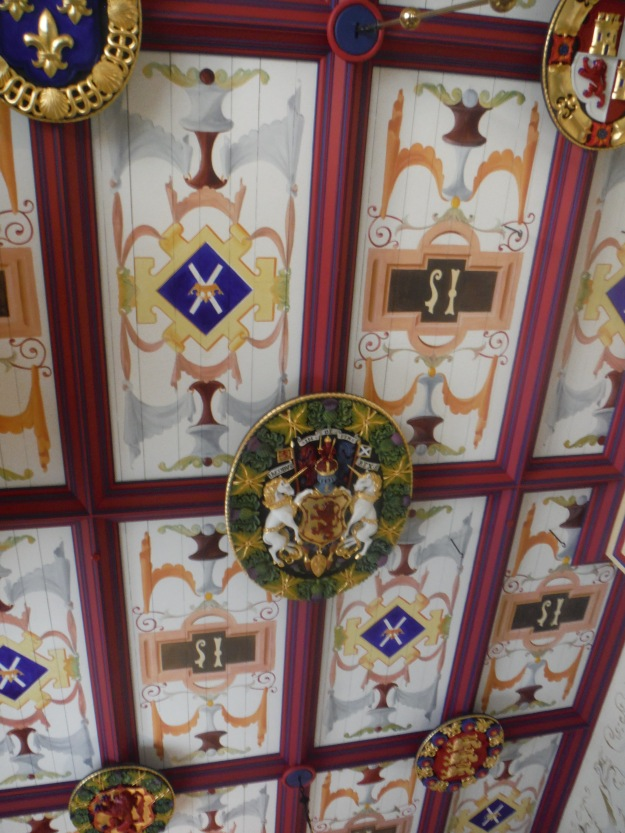 Inside, many rooms had undergone restoration. I loved this ceiling!