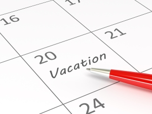 Vacation written on calendar