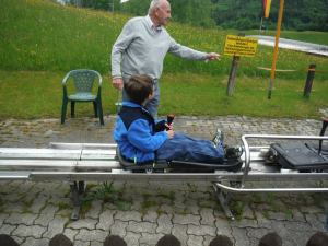 My son taking a break from castles and museums on an Alpine Slide near Salzburg, Austria.