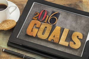 2016 goals - New Year resolution concept - text in vintage lette