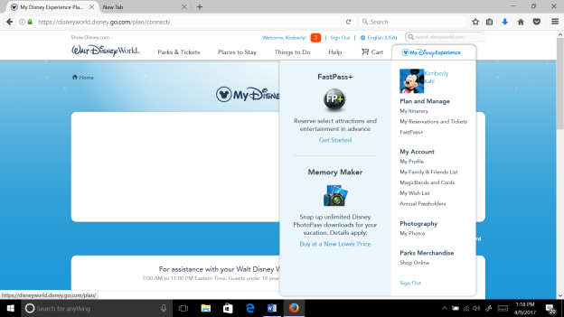 Walt Disney World Planning - How to Set Up an Account in My Disney Experience